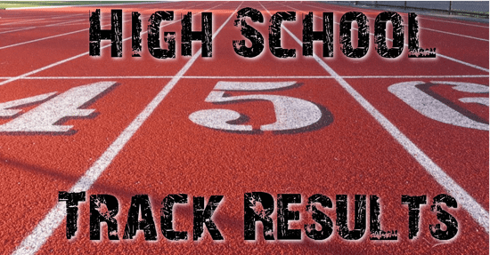 Running track in the background with the words high school track results overlaid on top.